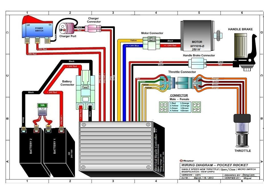 Razor E300 Electric Scooter Wiring Diagram.
