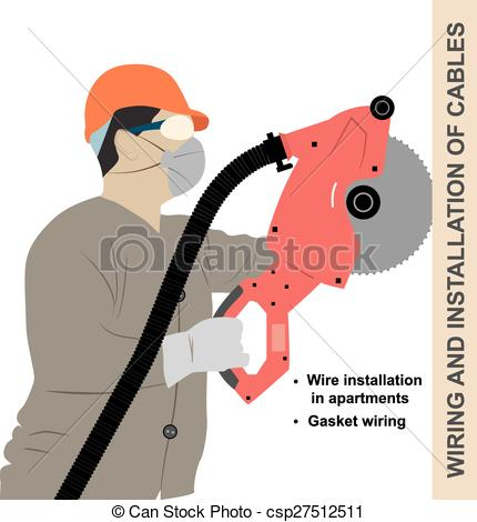 Vector Clip Art of Mounting wiring.