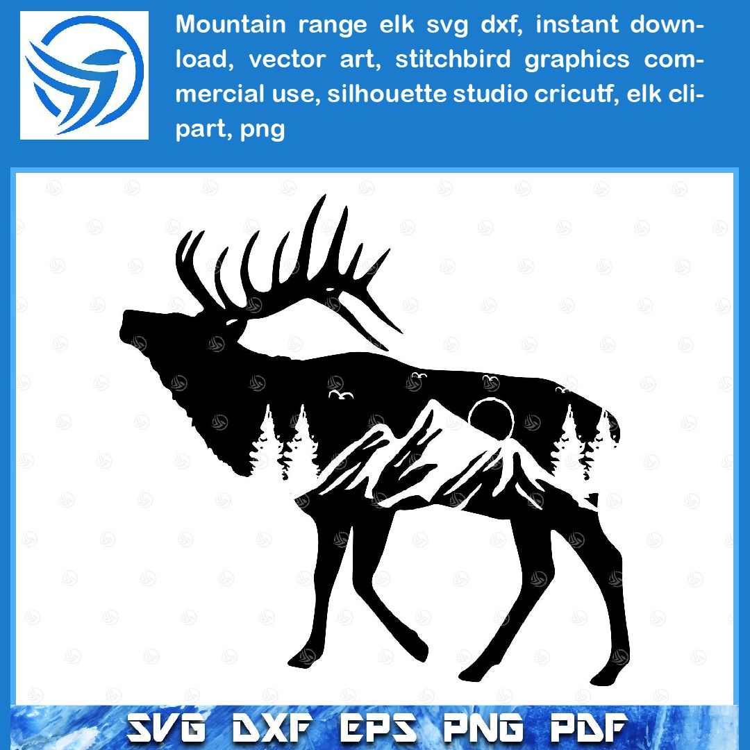 Mountain Range Elk SVG DXF, Instant Download, Vector Art.