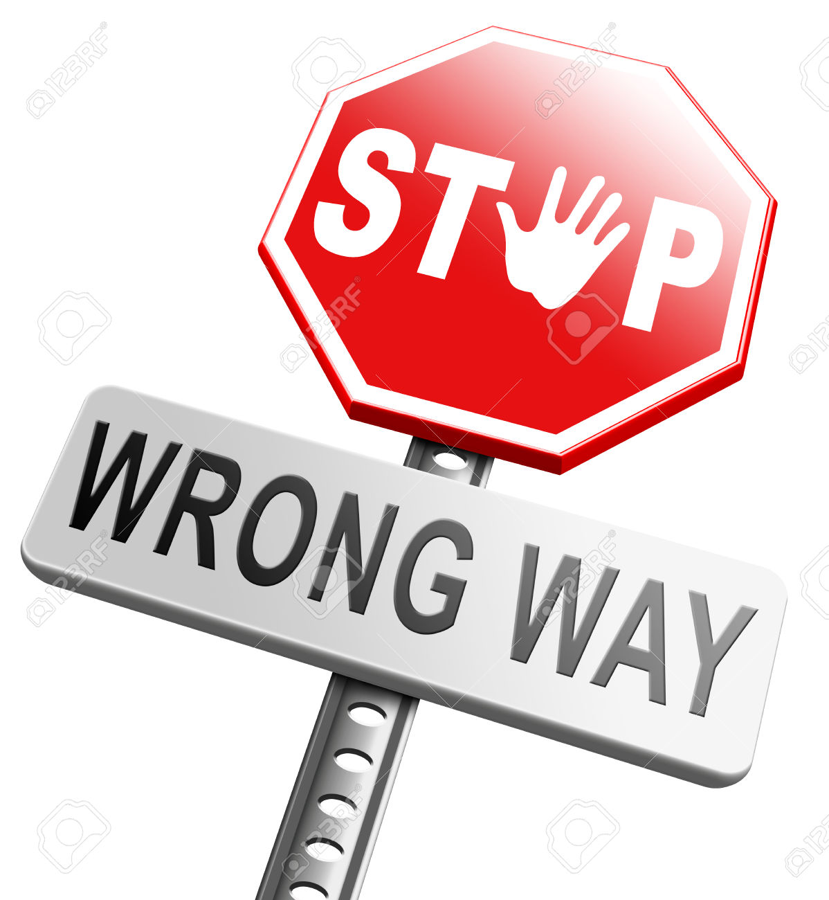 Wrong Way Stop And Turn Back Now Bad Direction Making Mistakes.