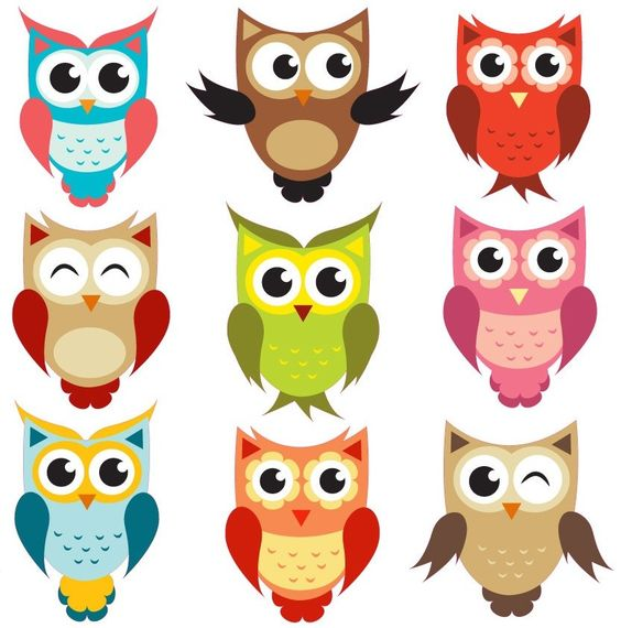 Full Colour Wall Decal Cute Set Of Owls Nursery Kids Bedroom Baby.
