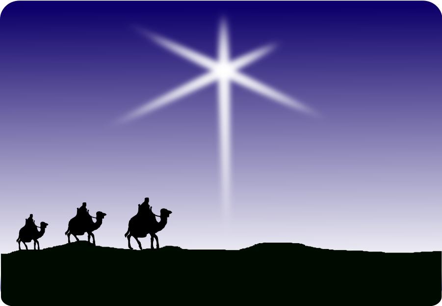 Christmas card Child Star of Bethlehem Biblical Magi.