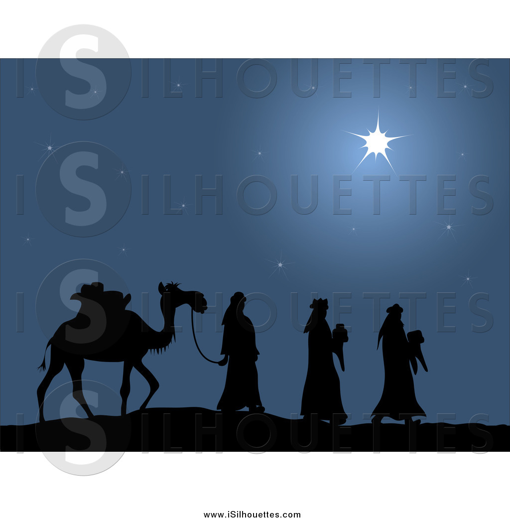 Clipart of Three Wise Men Carrying Gifts for Baby Jesus.