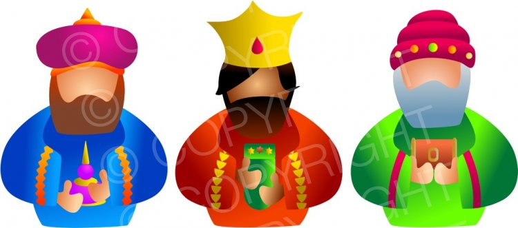 The Three Christmas Wise Men Bearing Gifts Clip Art.