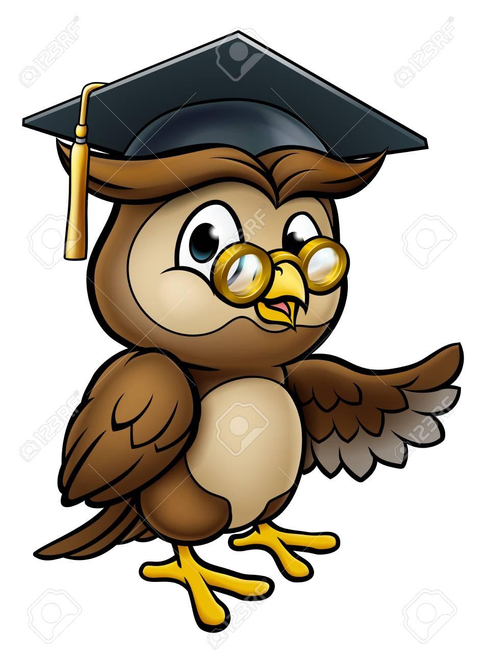 Wise Owl Cartoon Graduate Teacher Pointing.