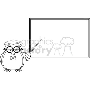 Royalty Free RF Clipart Illustration Black And White Wise Owl Teacher  Cartoon Mascot Character In Front Of School Chalk Board clipart.  Royalty.