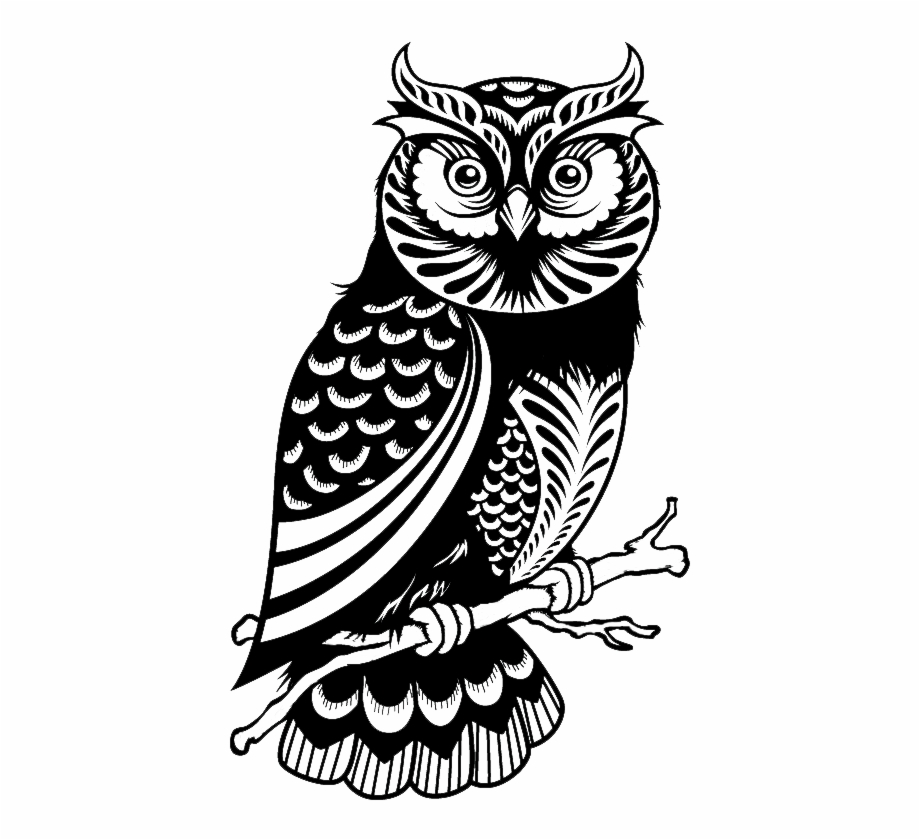 Wise Owl Png Black And White Owl Silhouette.