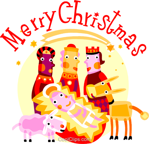 Wise men with baby Jesus and animals Royalty Free Vector.