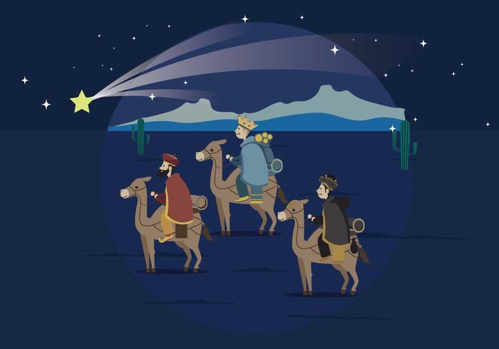 Three Wise Man Carrying Gold For Baby Jesus Illustration.