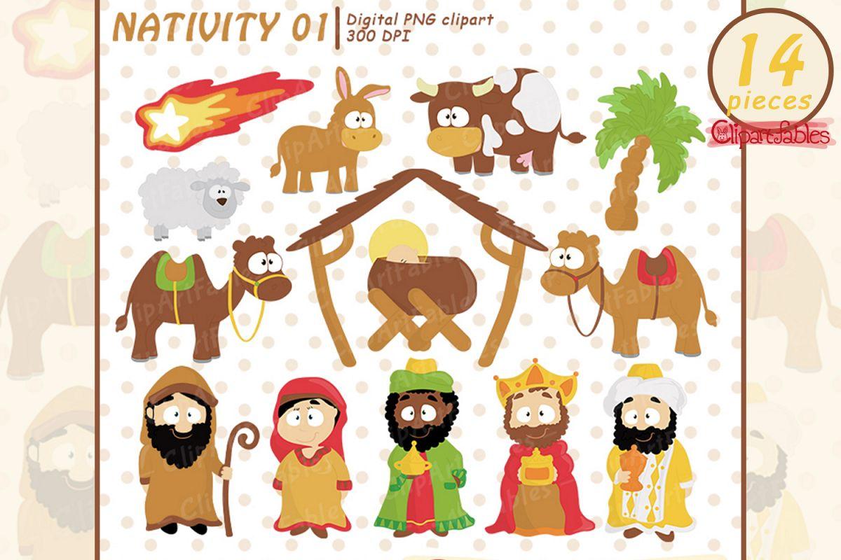 Nativity clipart, Cute Baby Jesus, Holy Family art, Wise men.