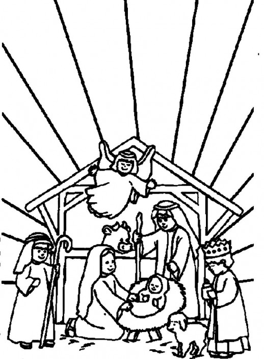 Three Wise Men Welcoming Baby Jesus Christmas Coloring Pages.
