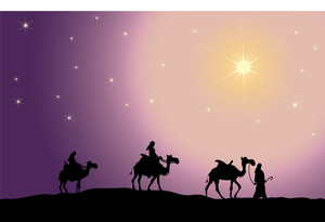 Clip Art Illustration of the Three Wise Men Following the.