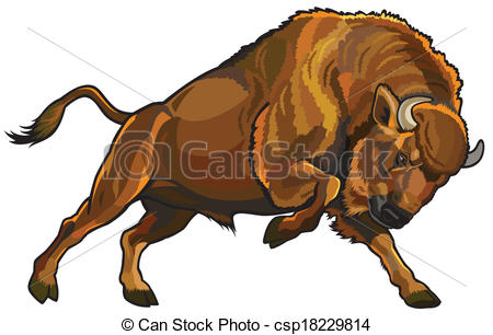 Vector Clip Art of european bison.