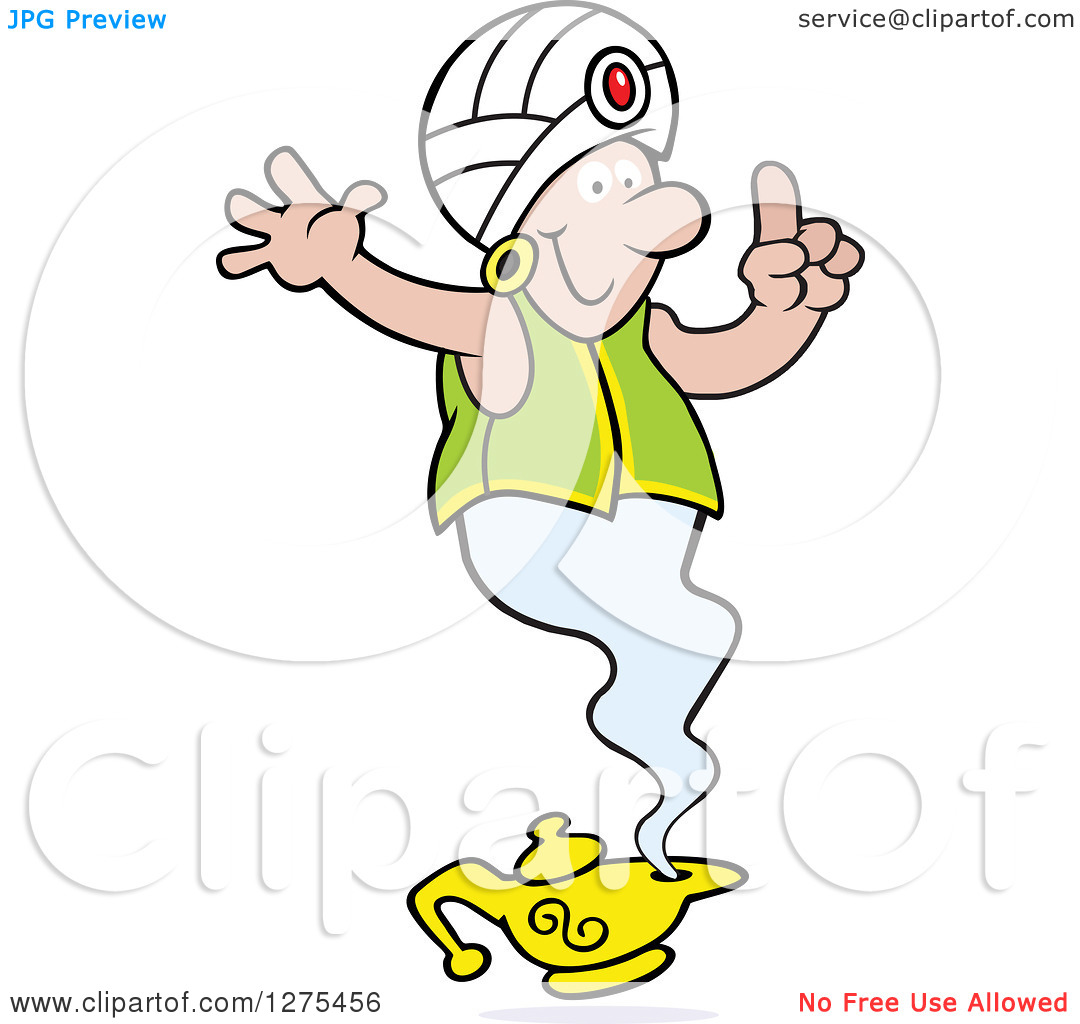 Clipart of a Happy Male Genie Emerging from a Lamp, Holding a.