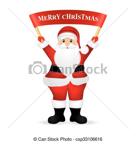 Vector Clip Art of Santa Claus wishes everyone a Merry Christmas.