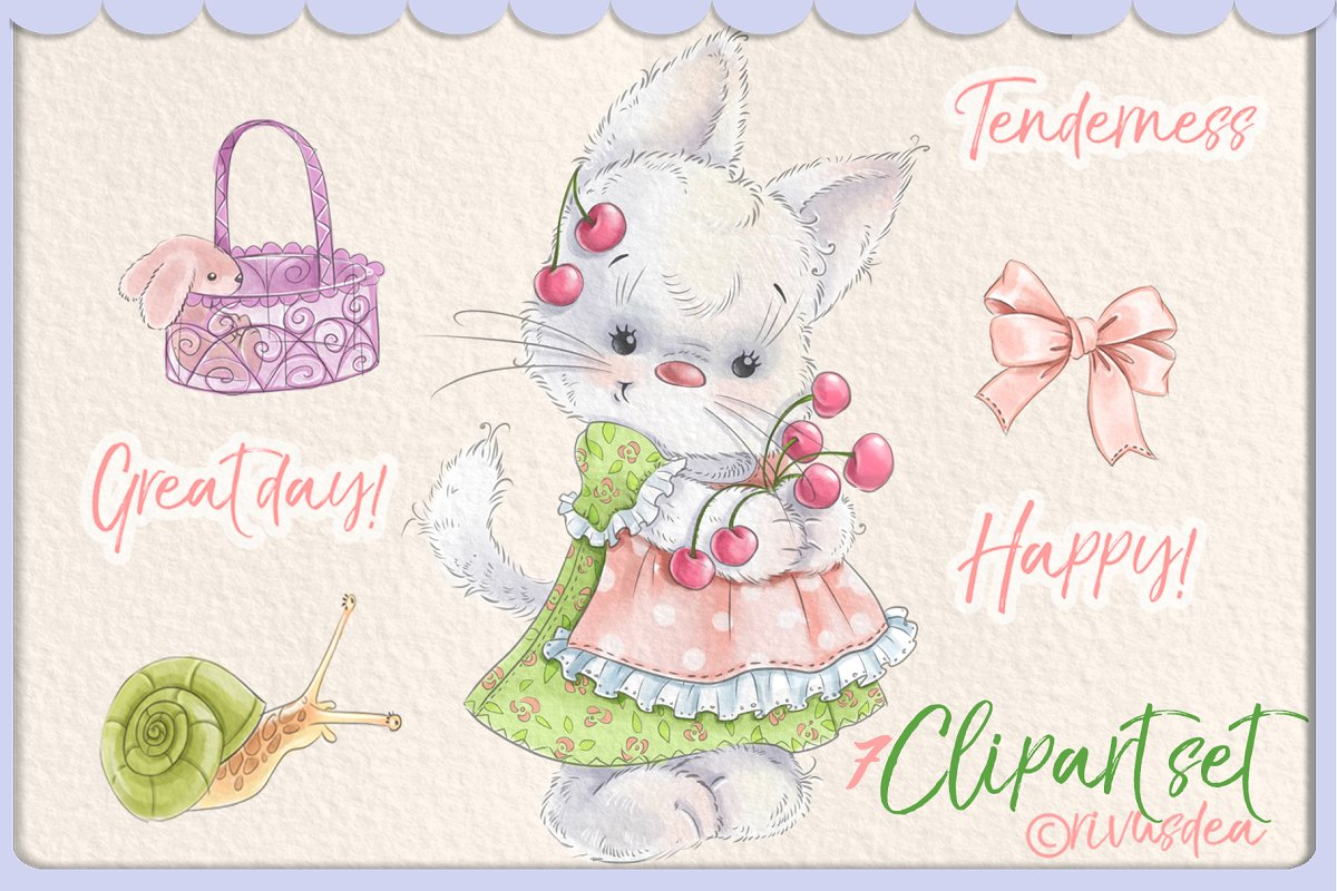 Cute baby girl kitten clipart set.
