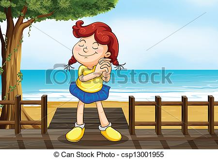 Clipart Vector of A girl wishing at the wooden bridge.