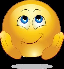Yellow Wishing Happy Smiley Emoticon Clipart.