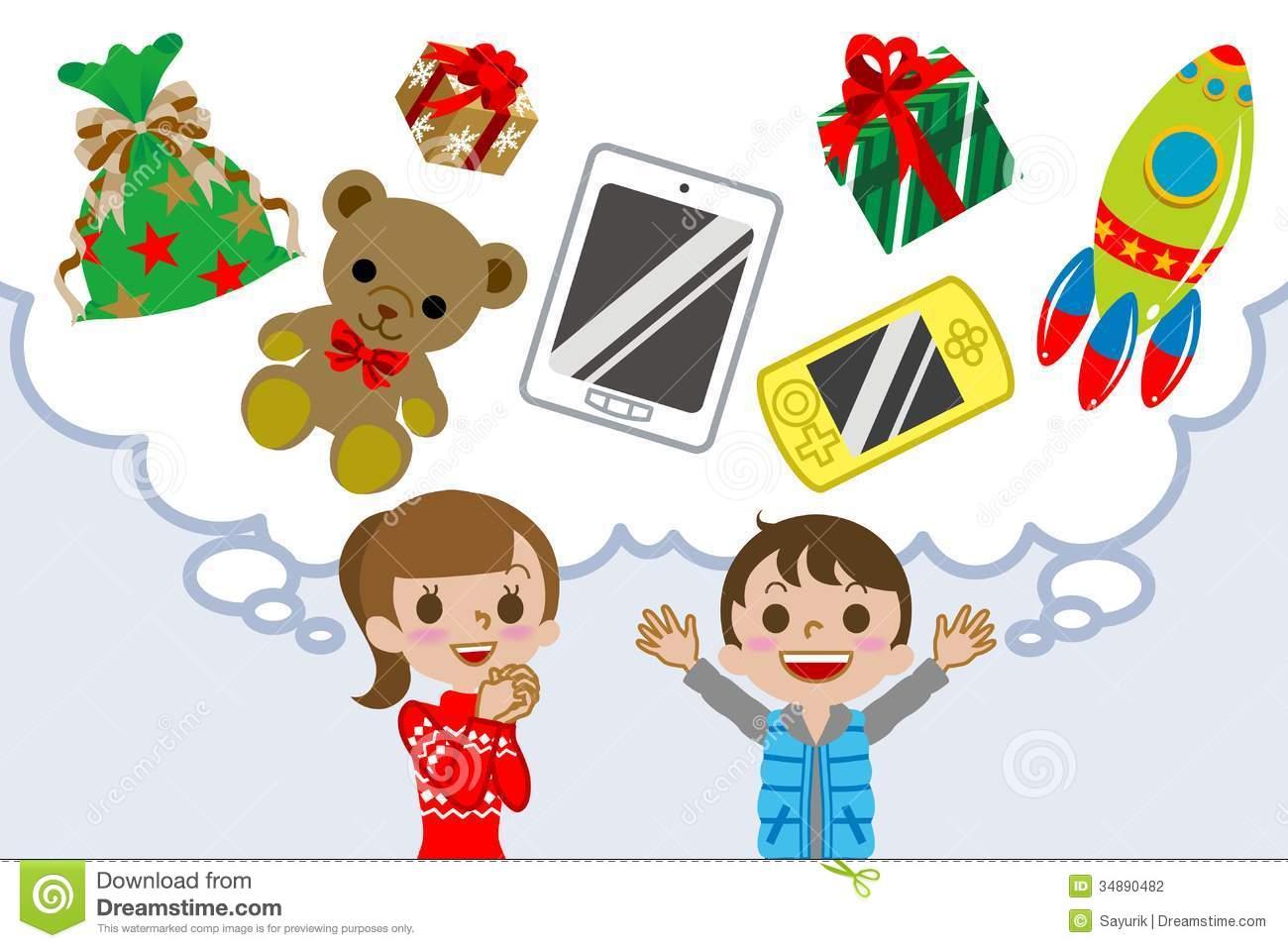 Children Wishing Gift Stock Photography.