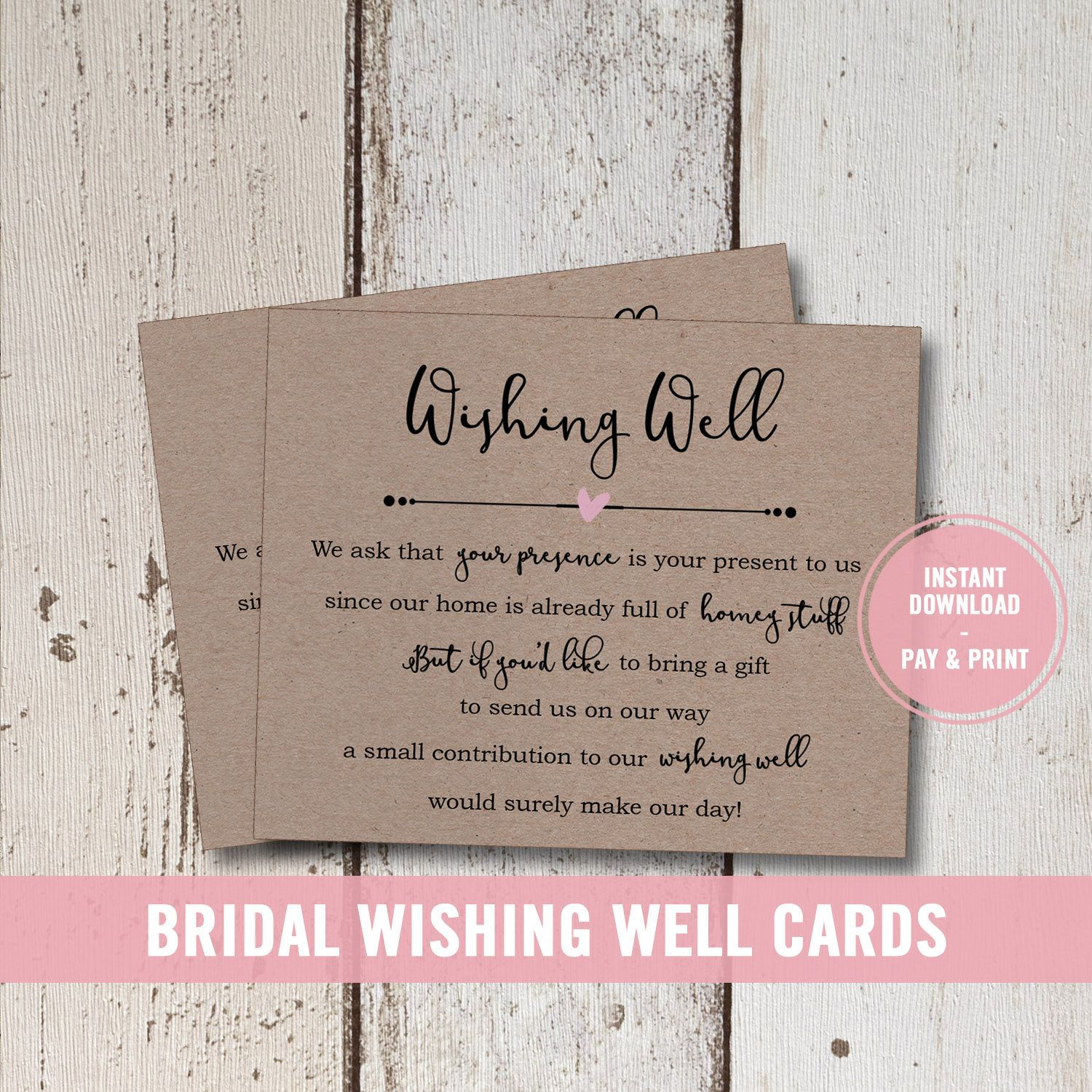 Wedding Wishing Well Card Printable, Bridal Shower Wishing.