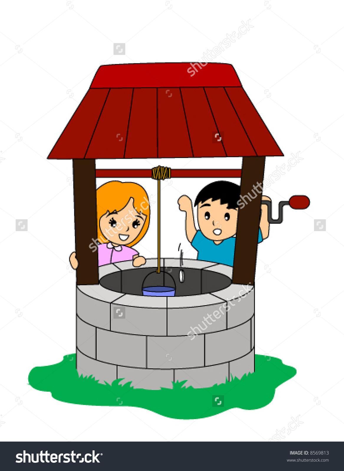Children Tossing Coin Wishing Well Vector Stock Vector 8569813.