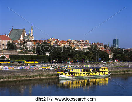 Picture of Wisla River, Highway Traffic, Old Town, Warsaw, Poland.