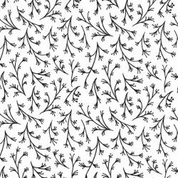 black and white black & white wisps florettes buds leaves.