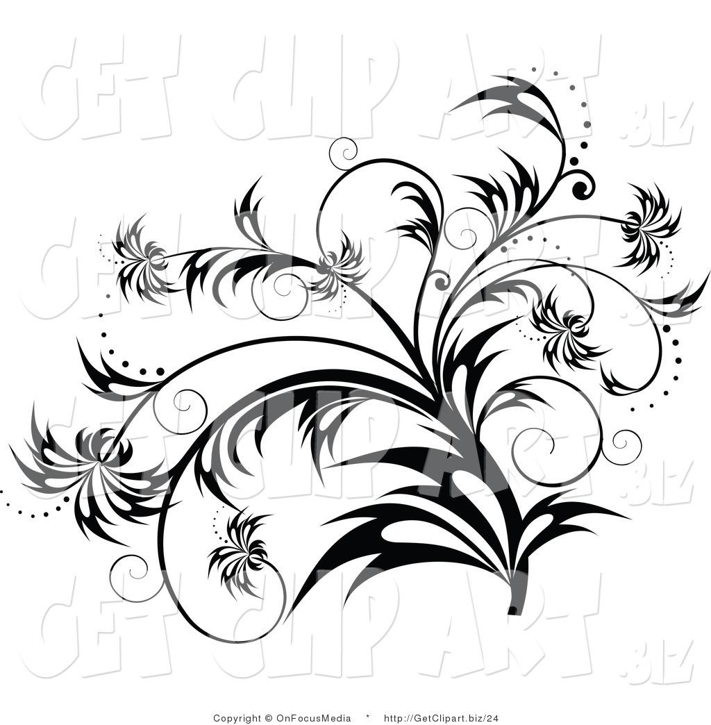 Clip Art of a Elegant Black and White Flourish, Plant Scroll.