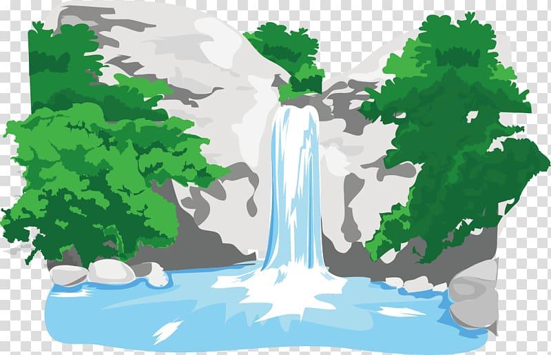 Waterfalls illustration, River Waterfall, The wisp mountain.