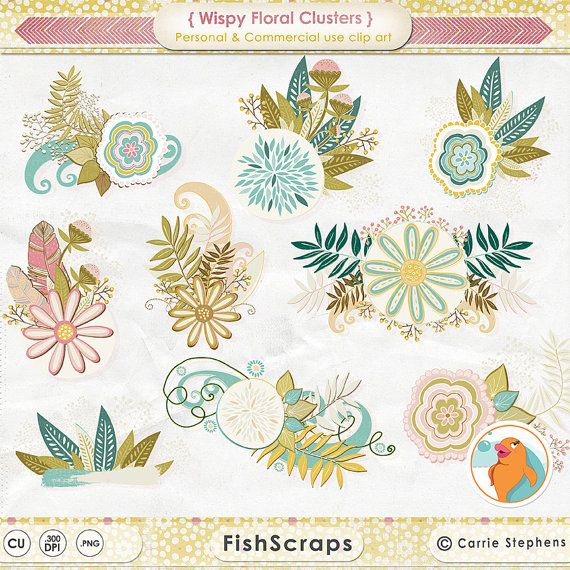 Wispy Floral Clip Art, Foliage & Flower Clusters, Flower ClipArt.