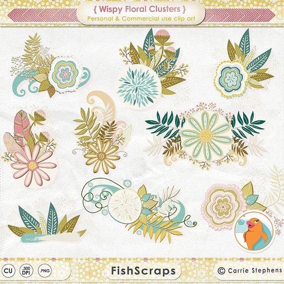 Wispy Floral Clip Art, Foliage & Flower Clusters, Flower ClipArt.