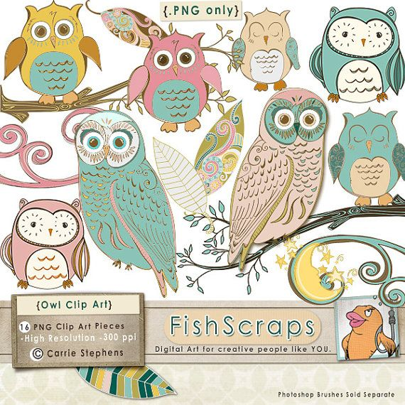 Whimsical Owl Clip Art, Folk Art Bird, Royalty Free Image.