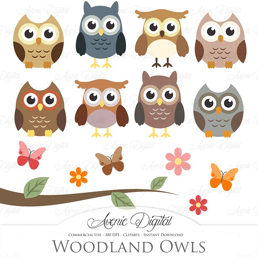 Owls on branches Photos, Graphics, Fonts, Themes, Templates.