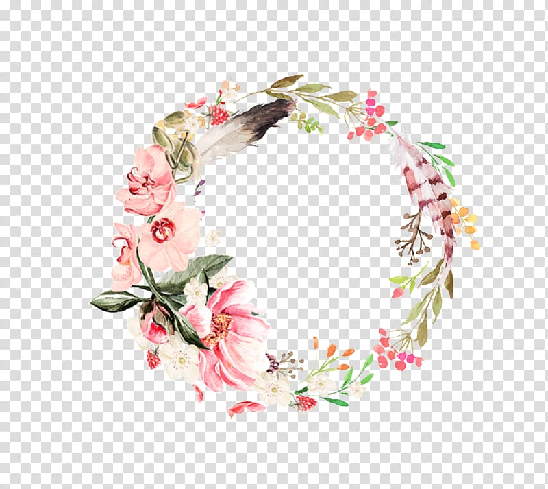 Pink and green flowers wreath border, Flower Feather Leaf.