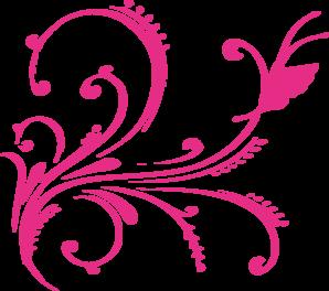 Pink Swirl Butterfly Clip Art.