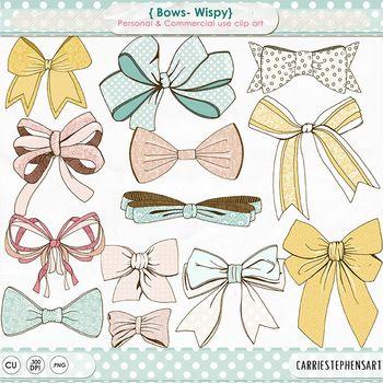 Wispy Bow Clip Art, Bow Tie, Gift Wrap, Tied BowTie, Pastel.