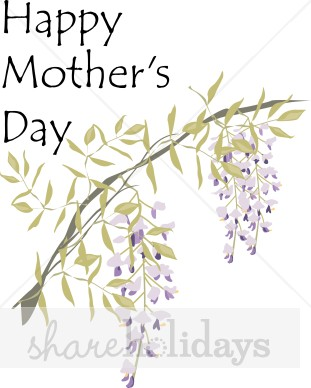Wisteria Happy Mother's Day Clipart.