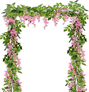 Ivalue Artificial Hanging Flower Pink Wisteria Garland Silk Wisteria Vine  Pack of 4 for Wedding Decoration.
