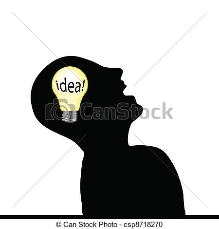 Vector Clipart of man with an idea wit yellow bulb art vector.