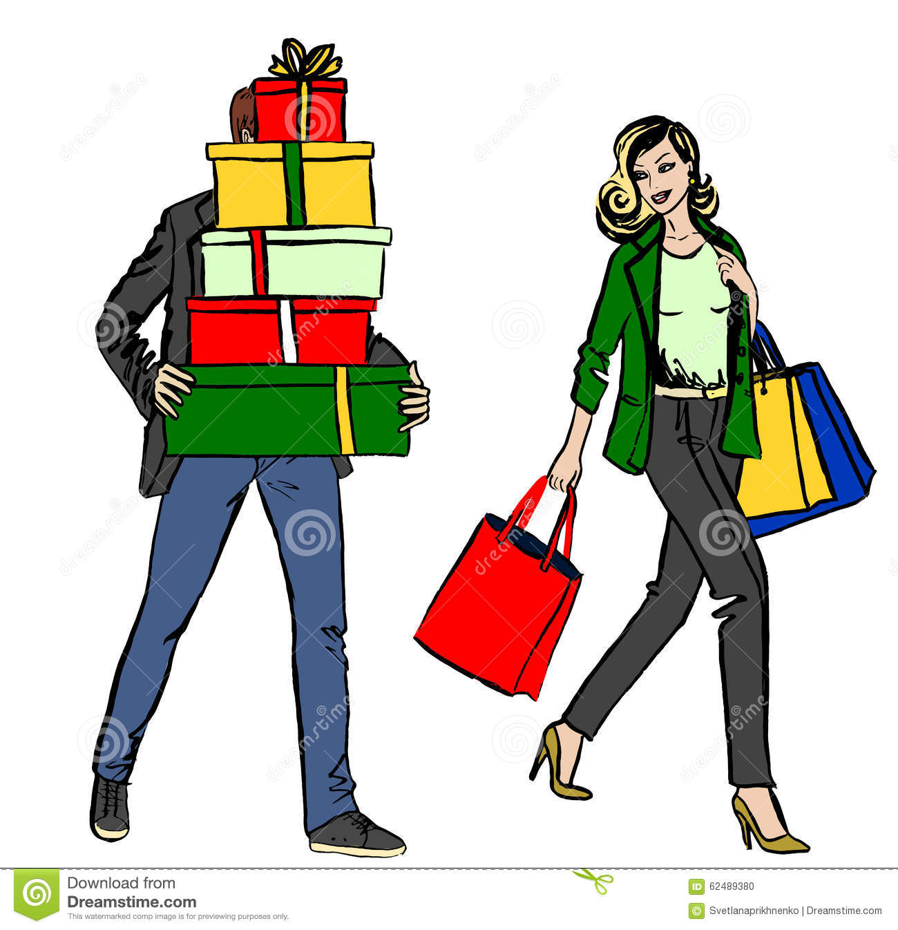 Woman And Man With Shopping Bag Stock Vector.