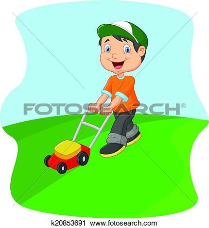 Clipart of Young man cartoon cutting grass wit k20853691.