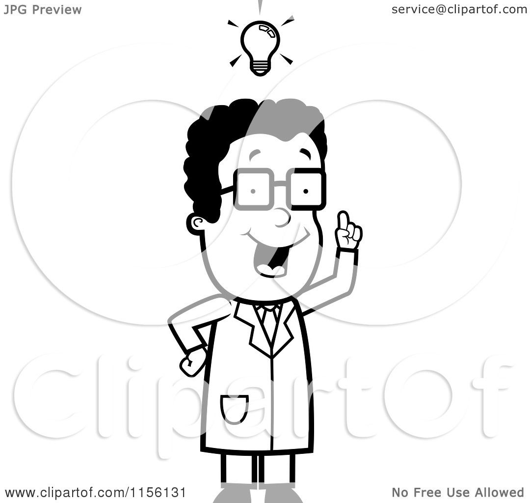 Cartoon Clipart Of A Black And White Black Male Scientist with an.