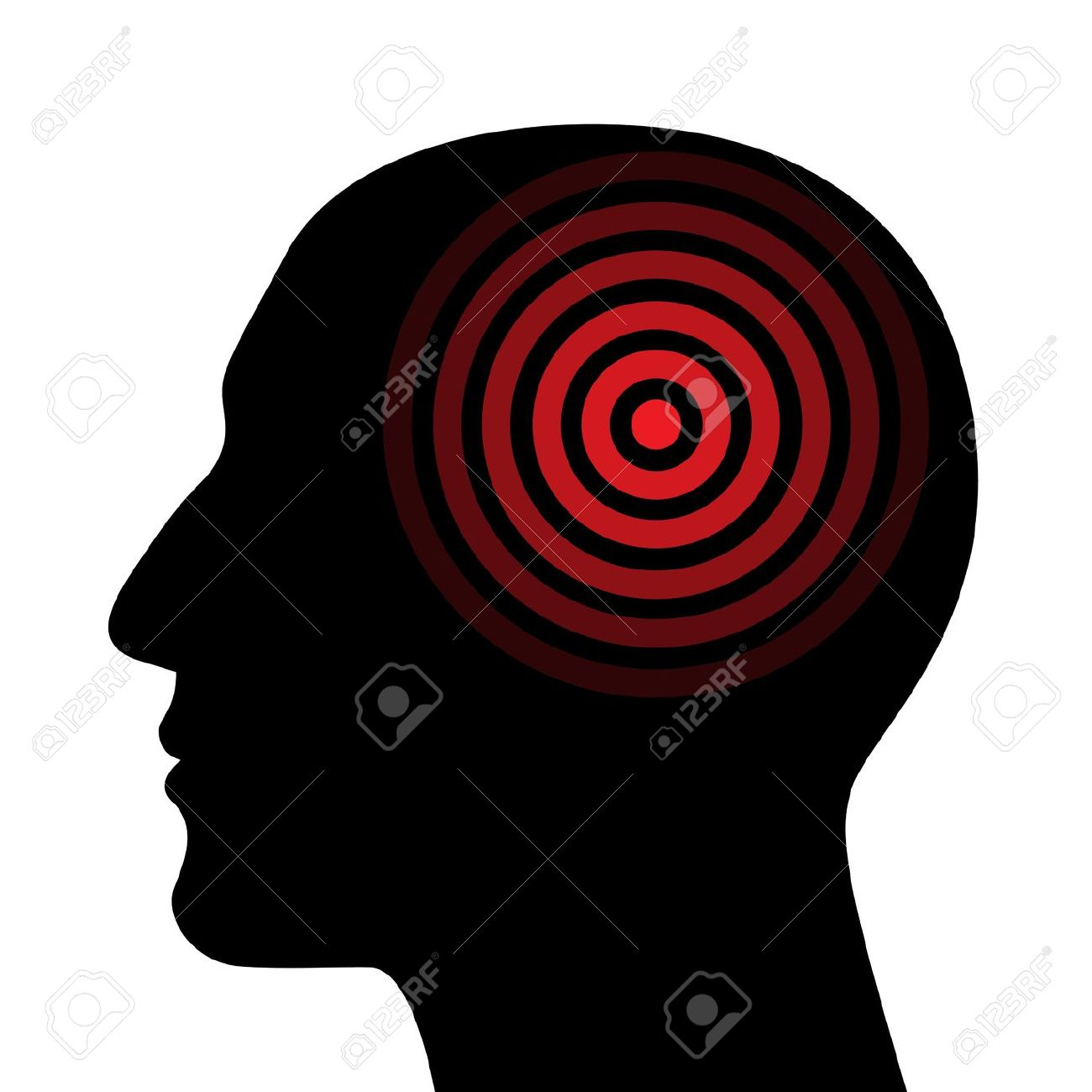 Silhouette Of A Human Head Wit The Target Royalty Free Cliparts.
