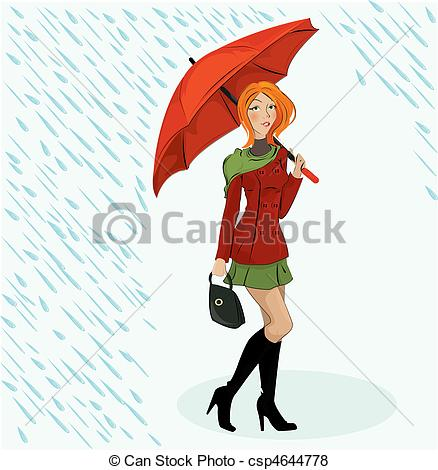 Vector Clip Art of Woman with umbrella silhouette under abstract.