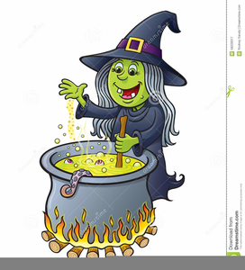 Witch Stirring Cauldron Clipart.