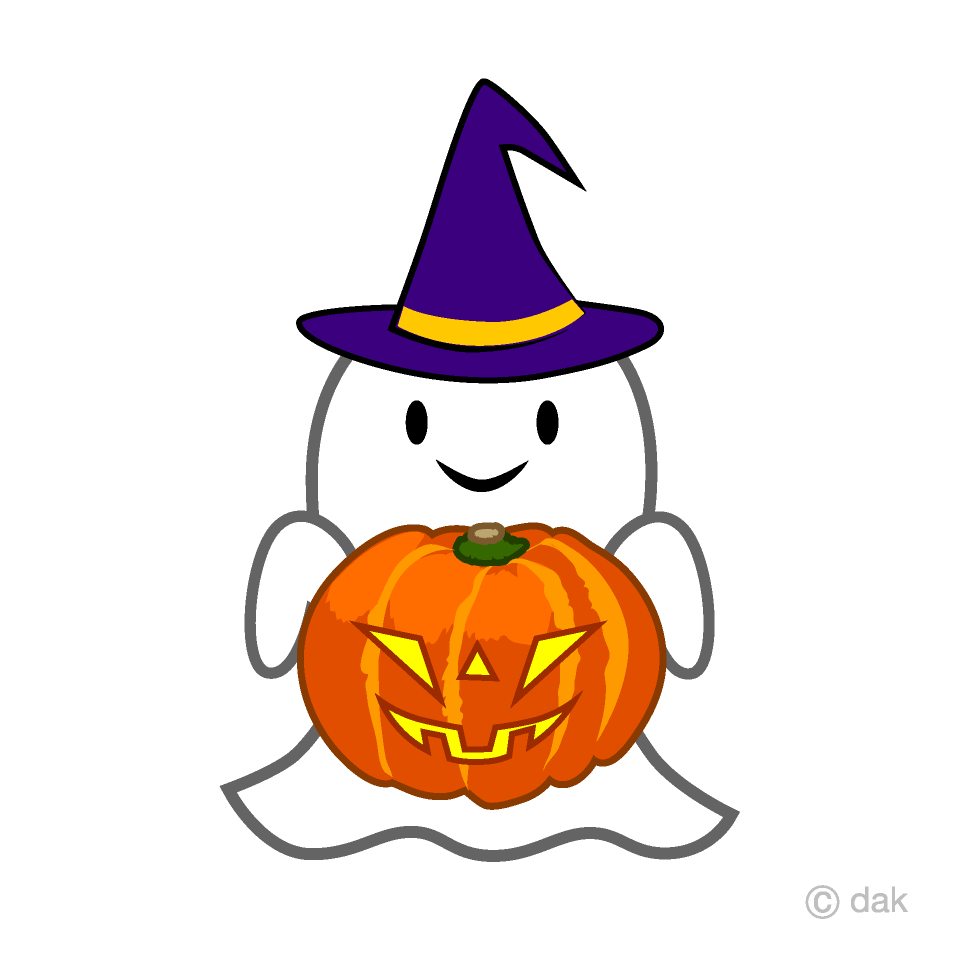Free Ghost with Pumpkin Clipart Image|Illustoon.