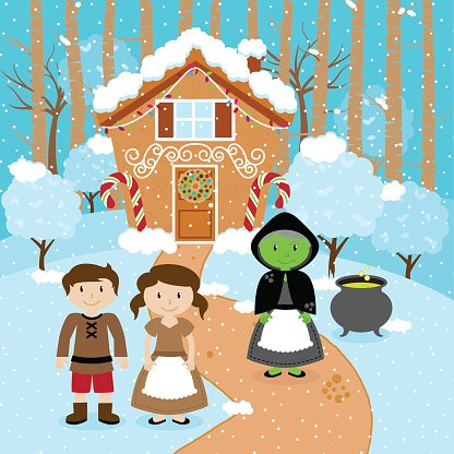 Fairy Tale Vector Scene with Hansel and Gretel, the Witch.
