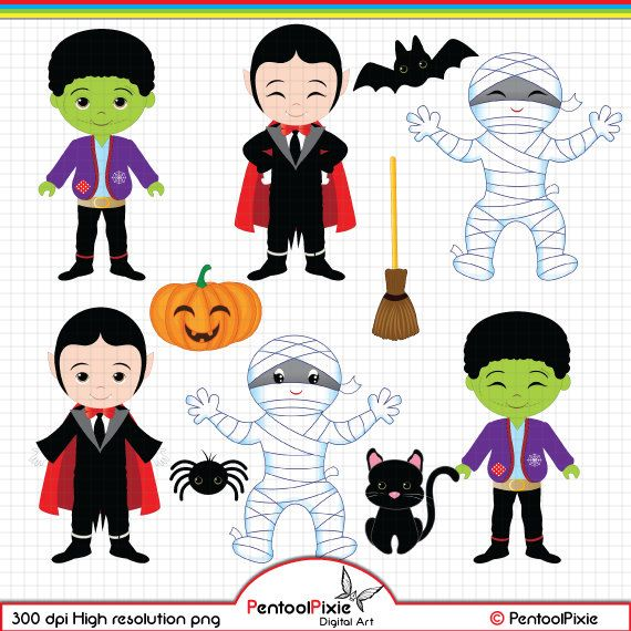 Halloween clipart Cute Ghost Vampire Dracula Cute Witch.