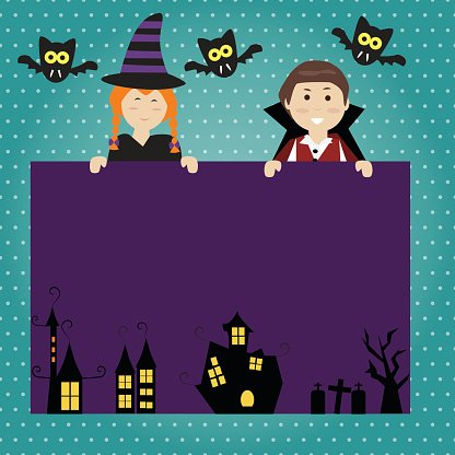 Happy Halloween Background With Cute Little Vampire and.