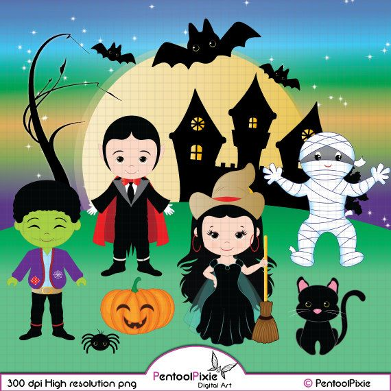 Halloween clipart, Cute Ghost, Vampire, Dracula, Cute Witch.
